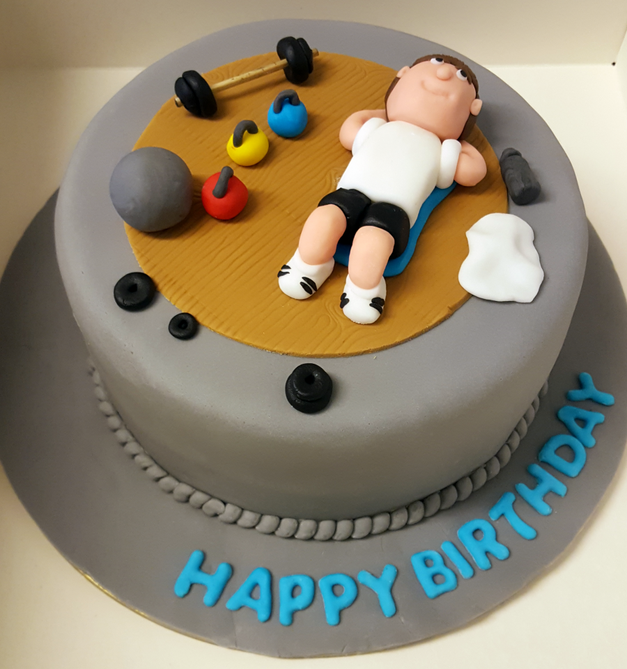 gym birthday cake